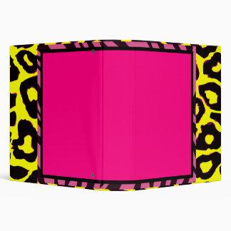 Funky Hot Pink Zebra Cheetah Set Binder