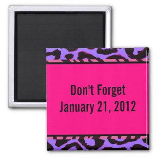 Funky Hot Pink Zebra Cheetah Set Fridge Magnets