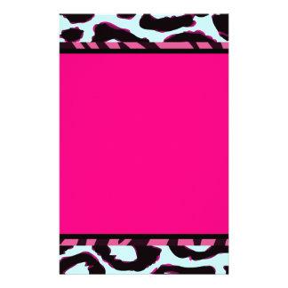 Funky Hot Pink Zebra Cheetah Set Stationery