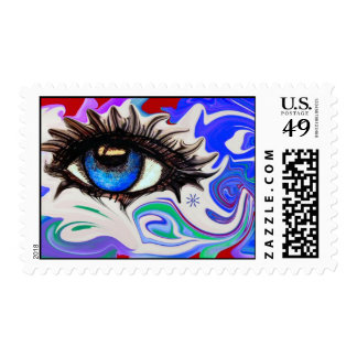 Funky in Blue Postage Stamp