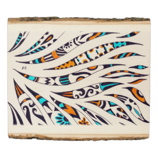 Funky Ink Whimsical Pattern Wood Panel