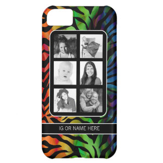 Funky Instagram Photo Collage Rainbow Zebra Cover For iPhone 5C