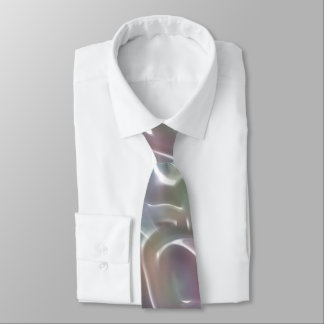 Funky Iridescent Abstract Peary White Luster Tie