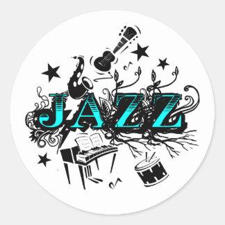 Funky Jazz Classic Round Sticker