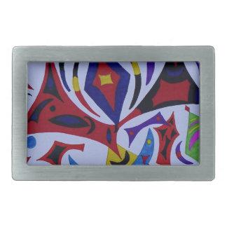 Funky kaleidoscope abstract art belt buckle