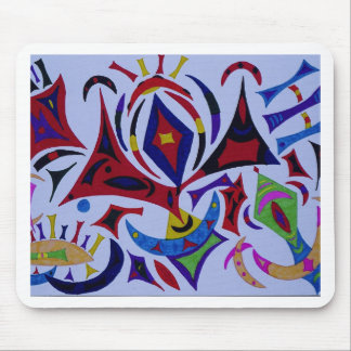 Funky kaleidoscope abstract art mouse pad