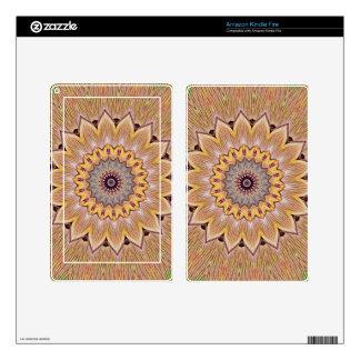 Funky Kaleidoscope Sunflower Mandala Skin For Kindle Fire