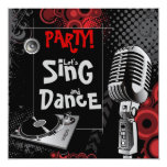 Funky Karaoke Music Sing Dance Birthday Party 5.25x5.25 Square Paper Invitation Card