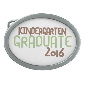 Funky Kindergarten Graduate 2016 (Green) Oval Belt Buckle