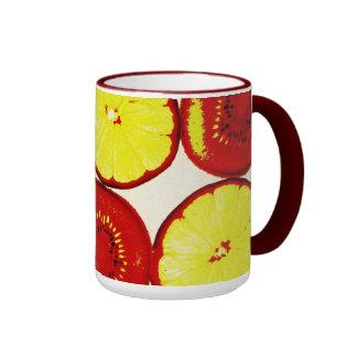 funky kiwi and lime pop art mug