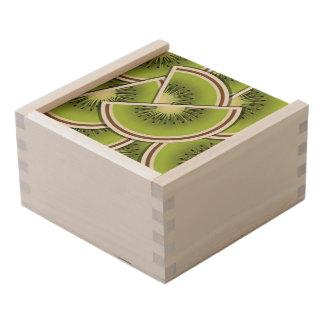 Funky kiwi fruit wedges wooden keepsake box