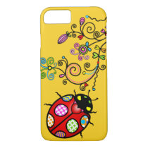 Funky Ladybug and Curly Flowers iPhone 7 iPhone 8/7 Case
