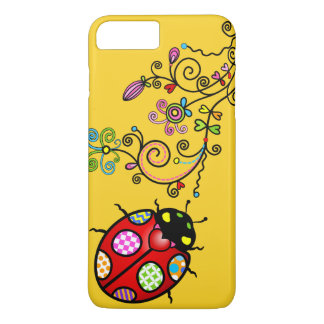 Funky Ladybug and Curly Flowers iPhone 7 Plus iPhone 8 Plus/7 Plus Case