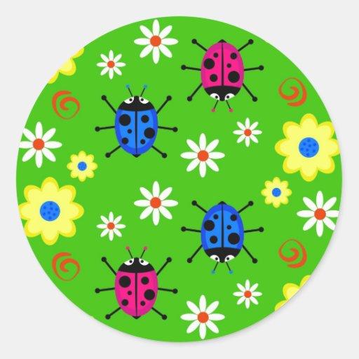 Funky Ladybugs Round Sticker