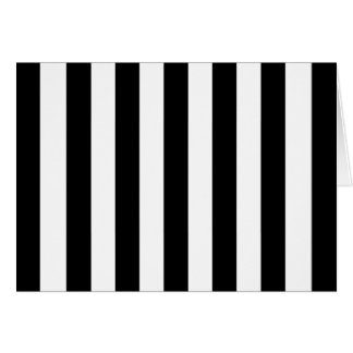 Funky Large Black and White Vertical Stripes Greeting Card