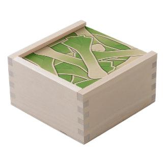 Funky leek wooden keepsake box