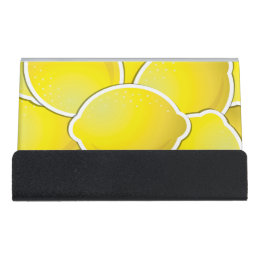 Funky business card holders cases zazzle funky lemon desk business card holder reheart Gallery
