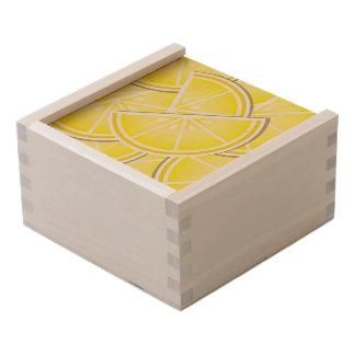 Funky lemon wedges! wooden keepsake box