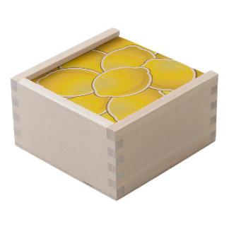 Funky lemon wooden keepsake box
