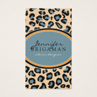 Funky Leopard Print Business Card :: orange/blue
