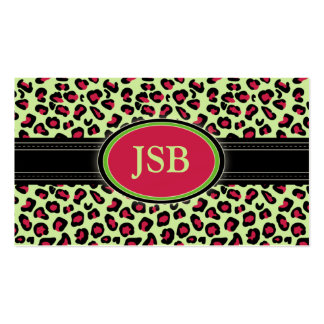 Funky Leopard Print Business Card :: pink/green