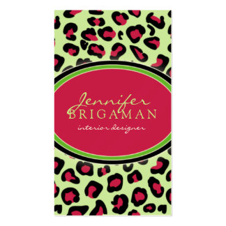 Funky Leopard Print Business Card pink green