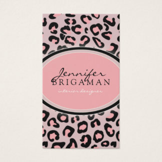 Funky Leopard Print Custom Business Card :: Pink