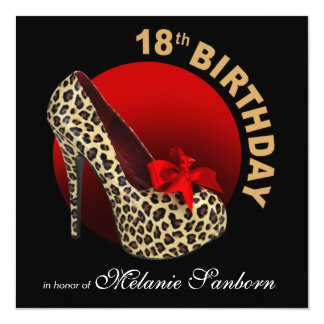Funky Leopard Stiletto 18th Birthday black red Card