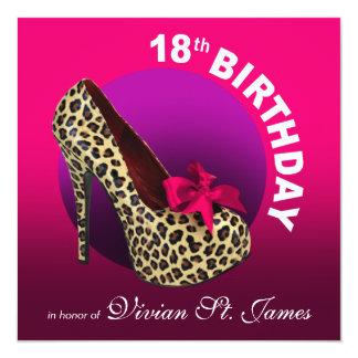 Funky Leopard Stiletto 18th Birthday hot pink Card
