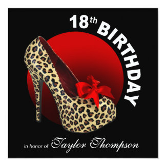 Funky Leopard Stiletto 18th Birthday red black Card
