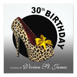 Funky Leopard Stiletto 30th Birthday black white Card