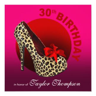 Funky Leopard Stiletto 30th Birthday fuschia red Card