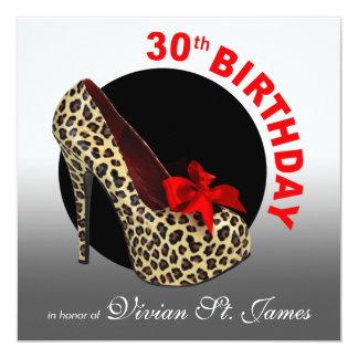 Funky Leopard Stiletto 30th Birthday white black Card