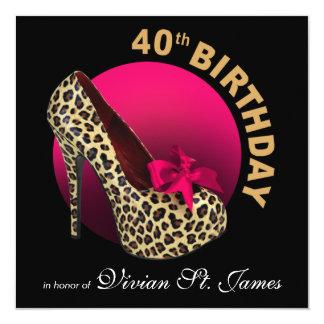 Funky Leopard Stiletto 40th Birthday black fuschia Card