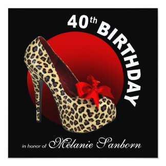 Funky Leopard Stiletto 40th Birthday black red Card