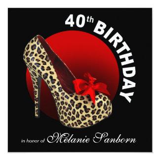 Funky Leopard Stiletto 40th Birthday black red Card