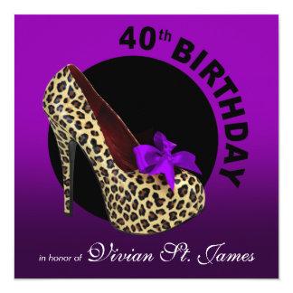 Funky Leopard Stiletto 40th Birthday hot pink Card