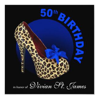 Funky Leopard Stiletto 50th Birthday black Card
