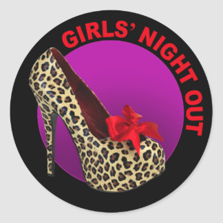 Funky Leopard Stiletto Girls Night Out Classic Round Sticker