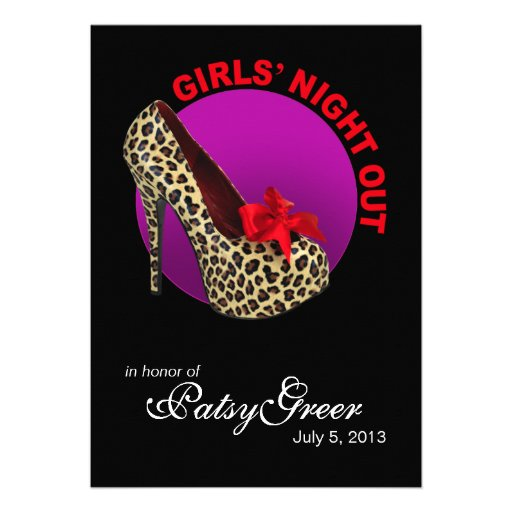 Funky Leopard Stiletto Girls Night Out Invitations
