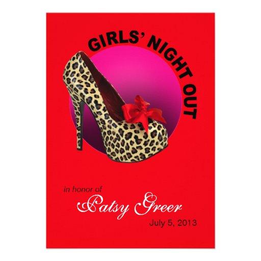 Funky Leopard Stiletto Girls Night Out Custom Invitations
