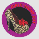 Funky Leopard Stiletto Girls Night Out Round Stickers