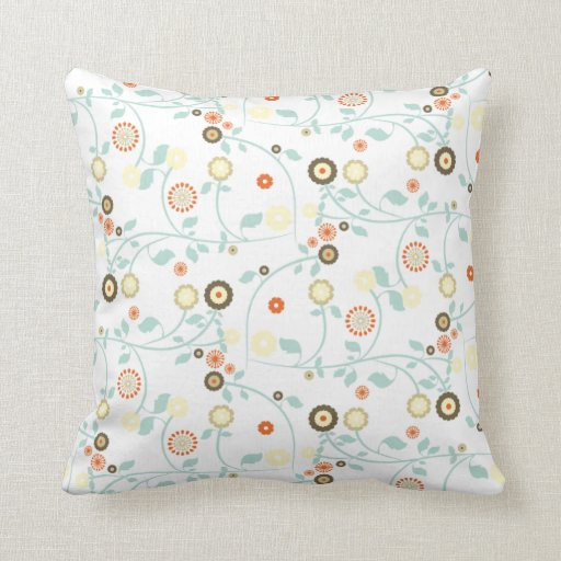 funky light floral pattern throw pillow