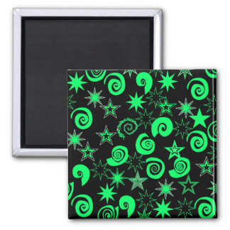 Funky Lime Green Black Stars Swirls Fun Pattern 2 Inch Square Magnet