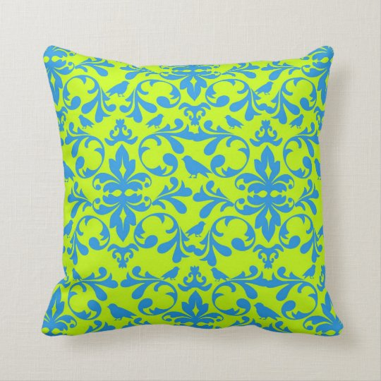 funky lime green bright blue bird damask pattern throw pillow