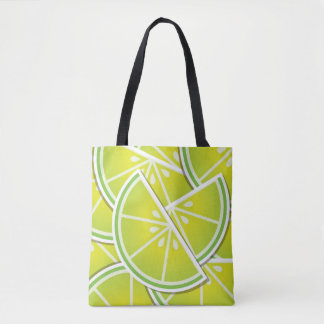 Funky lime wedges tote bag
