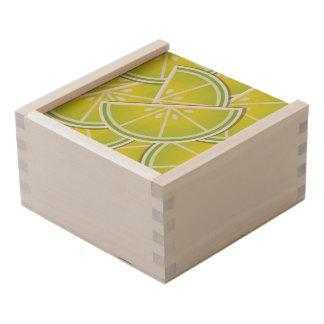 Funky lime wedges wooden keepsake box
