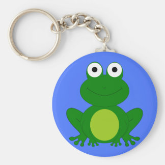 Funky little frog pond basic round button keychain