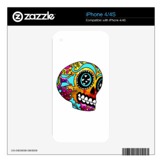 Funky Little Sugar Skulls by OneCuriousHuman Skins For iPhone 4