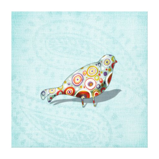 Funky Little Whimsical Doodle Bird on Aqua Paisley Gallery Wrap Canvas